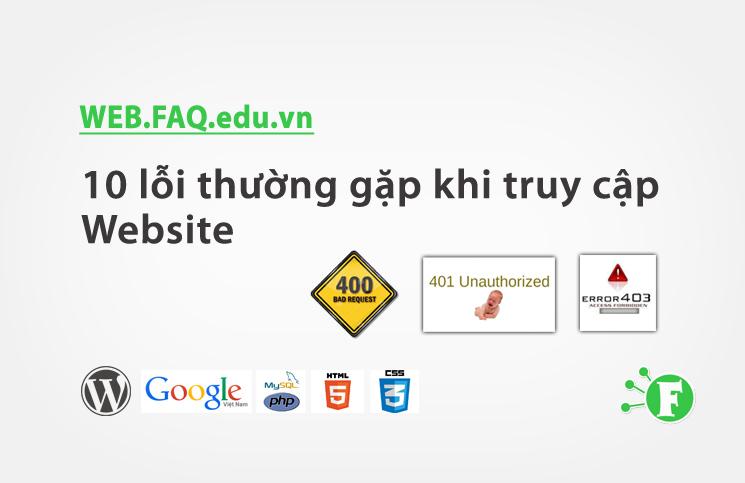 10 lỗi thường gặp khi truy cập Website
