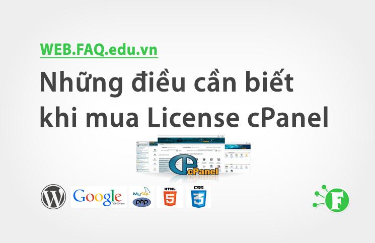 Những điều cần biết khi mua License cPanel