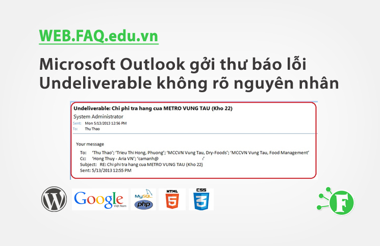 Microsoft Outlook gởi thư báo lỗi Undeliverable không rõ nguyên nhân