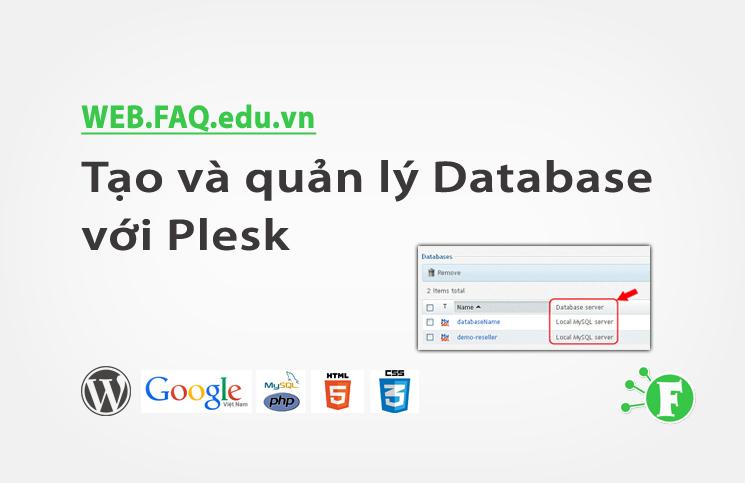 Tạo và quản lý Database với Plesk