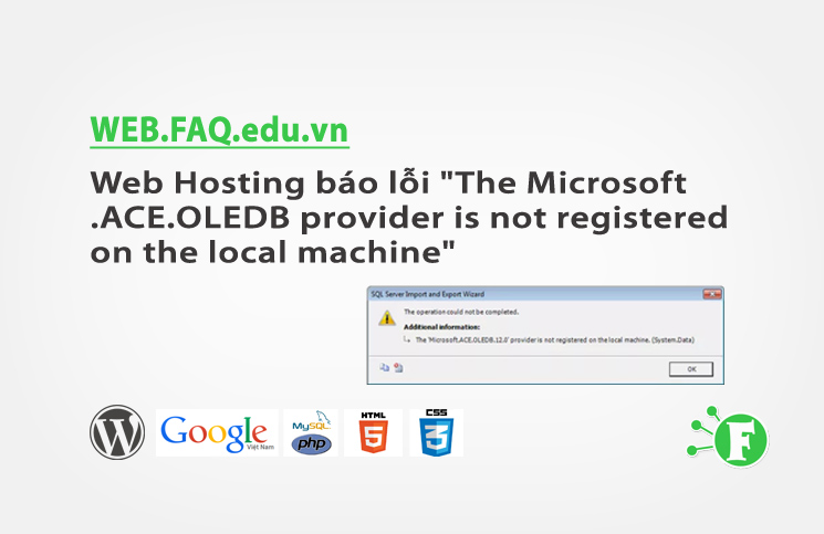 "Web Hosting báo lỗi ""The Microsoft.ACE.OLEDB provider is not registered on the local machine"""